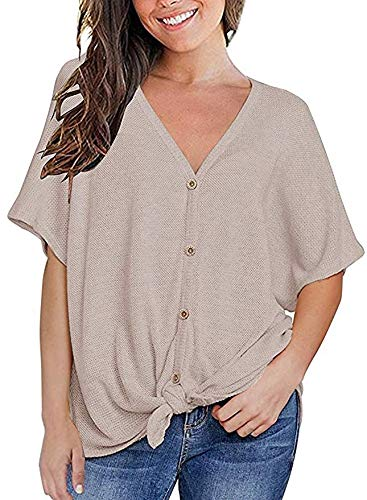(Fronage Summer Tops for Women Short Sleeve V Neck Button Down Henly Shirts Oversized(XXL, Grey))