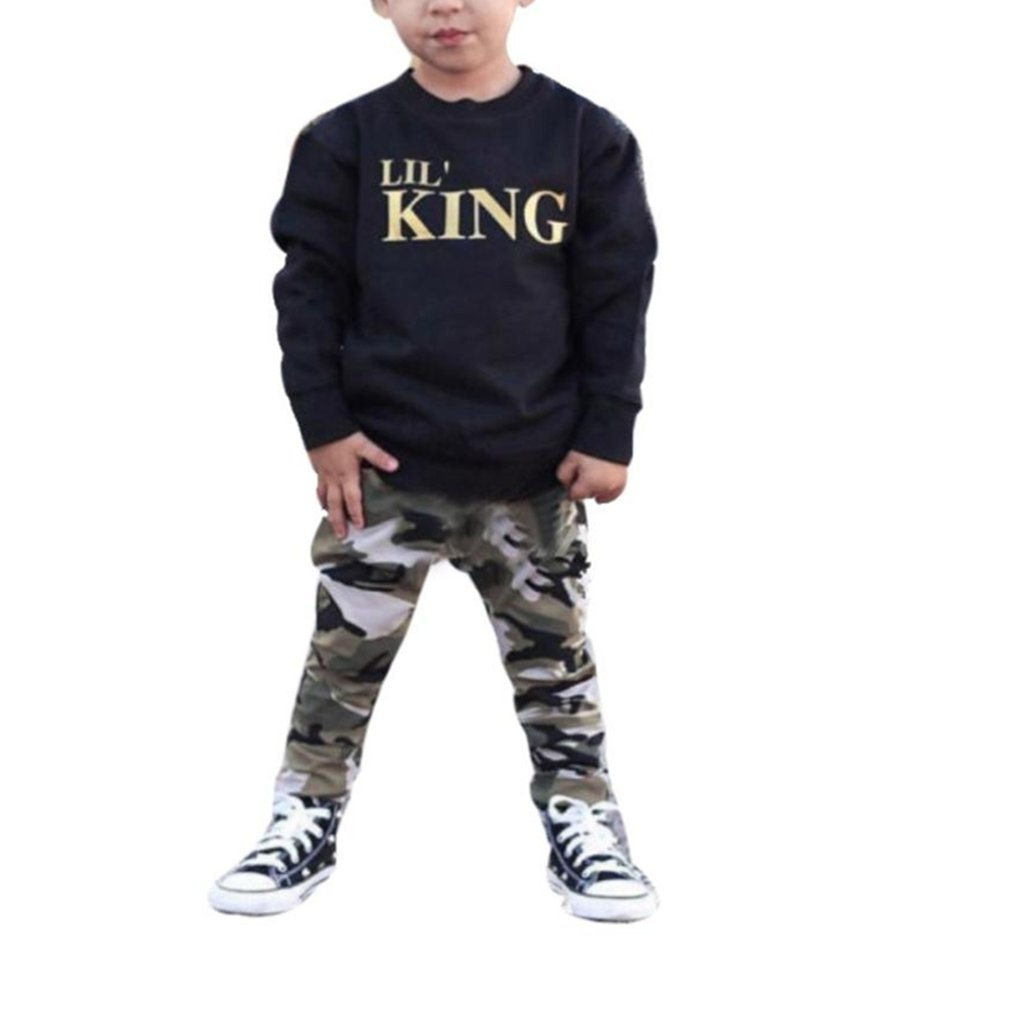 b031e56ad Xshuai for 1-5 Years Old Kids, 2Pcs Fashion Toddler Newborn Infant Toddler Baby  Boy Letter T Shirt Tops+Camouflage Pants Outfits Clothes Set: Amazon.co.uk:  ...