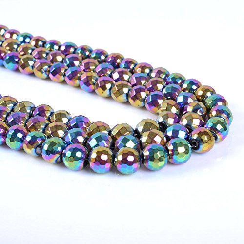 jennysun2010 8mm Natural Non-Magnetic Hematite Gemstone Faceted Round Loose Beads 15.5'' Metallic Multi-Colored 1 Strand for Bracelet Necklace Earrings Jewelry Making Crafts Design Healing ()