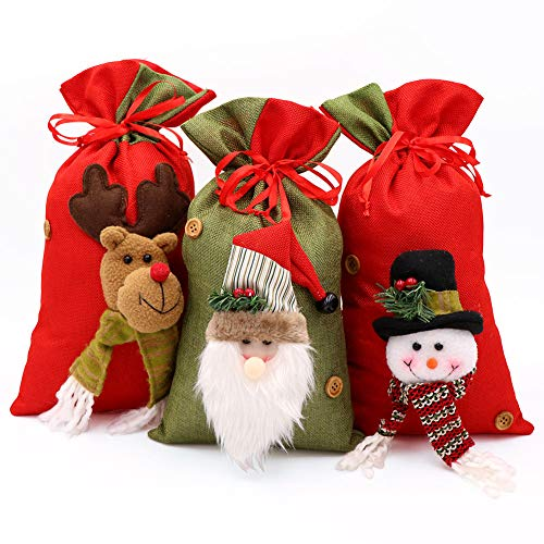 Wmbetter 3 Bags/Santa Sack/Drawstring Bags Treat Bags with Holiday Party Decorations 15 x 8inch