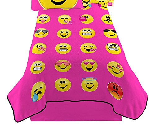 Hot Pink Happy Emoji Twin Sized Plush Blanket