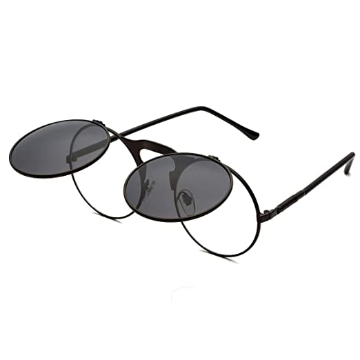 ae173cb6eca Round Sunglasses for Men Women Retro SteamPunk Style Flip Up Mirror Circle  Shades Glasses Black Frame