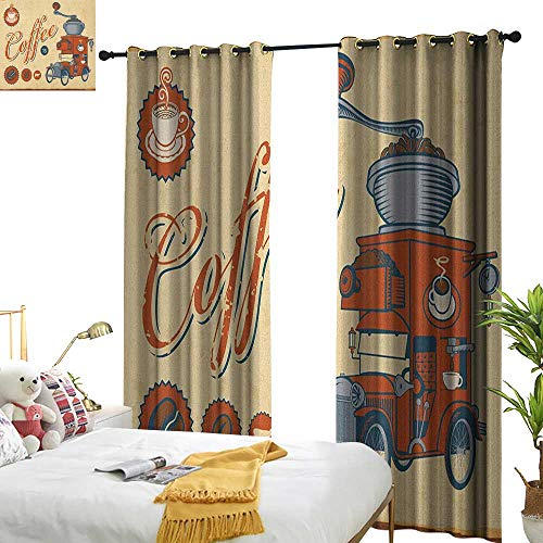 WinfreyDecor Sliding Curtains Retro Artsy Commercial Design of Vintage Truck with Coffee Grinder Old Fashioned Set of Two Panels W108 x L84 Cream Orange Grey - Peach Coffee Grinder