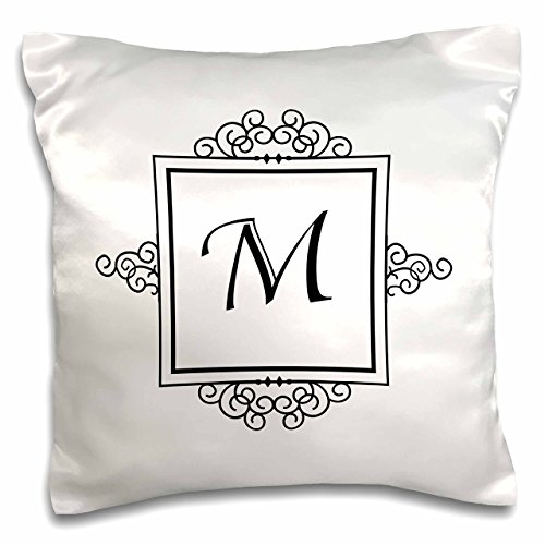 3dRose pc_154336_1 Initial Letter M Personal Monogrammed Fancy Black and White Typography Personalized-Pillow Case, 16 by 16