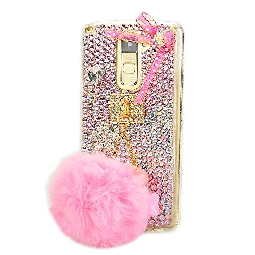 - STENES LG K10 Case - Stylish - 100+ Bling Crystal - 3D Handmade Ball Rabbit Pompons Star Pendant Bowknot Design Protective Case for LG K10 / LG Premier LTE - Pink
