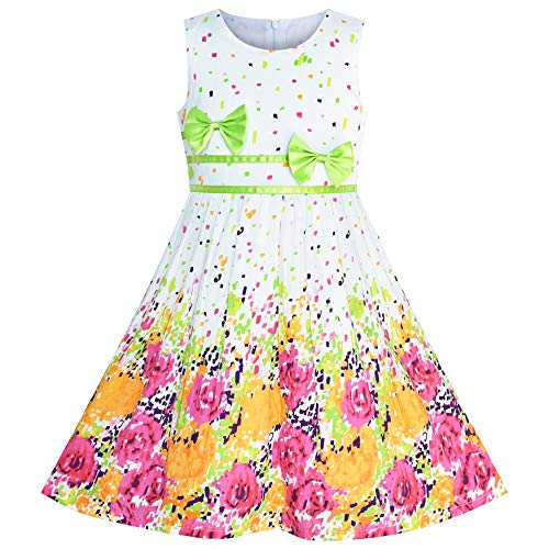 Girls Dress Flower Green Bow Tie Summer Sundress Size 11-12 -