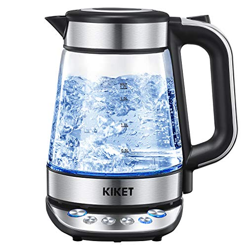 Glass Electric Kettle Temperature Control Tea Kettle 1.7L Hot Water Kettle with LED Blue Light Indicator, Auto Shut-Off, BPA-Free for Tea Coffee Oatmeal Pasta by KIKET