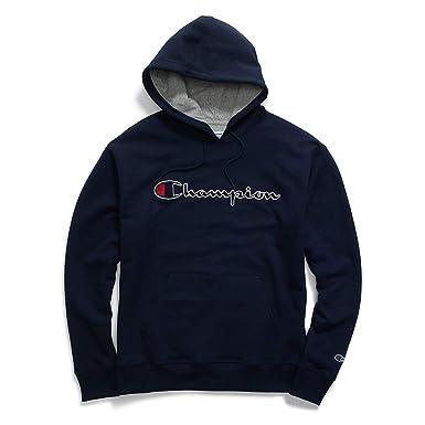 260712042f5f Champion Mens Powerblend Fleece Pullover Hoodie Felt Script Logo ...