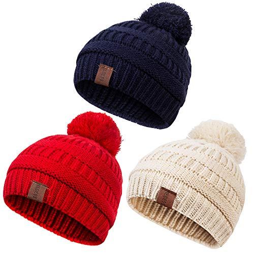 REDESS Baby Kids Winter Warm Fleece Lined Hats, Infant Toddler Children Pom Pom Beanie Knit Cap Girls Boys - Infant Fleece Hats
