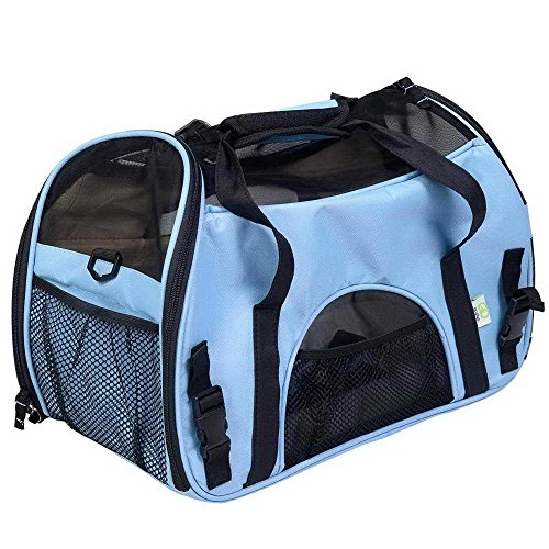 YUDODO Pet Carrier Airline Approved, Soft-Sided Pet Travel Carrier for Little Petite Dogs and Cats-with Fleece Pads and Storage Case, Machine Washable (Blue)