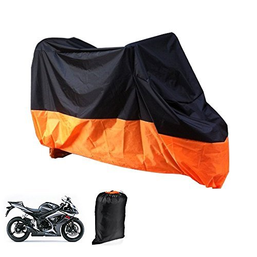 Motorcycle Cover Lance Home Motorbike Waterproof Dustproof Outdoor Cover Black&Orange for Honda Kawasaki Suzuki Yamaha Harley Davidson (XL, - Cover Lance