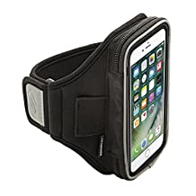 Sporteer Velocity V150 Armband for iPhone 7/iPhone 6S w/ Otterbox Case, Samsung Galaxy S8, Galaxy S7, Galaxy S7 Edge, S6, Google Pixel, LG G6, G5, Nexus 5X, Moto G, and Many More (Black, Strap Size M/L)