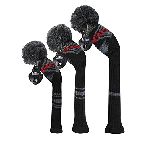 Scott Edward Grey Red Black Abstract Pattern Golf Head Covers Set of 3 Wood Clubs, with Rotating Number Tags