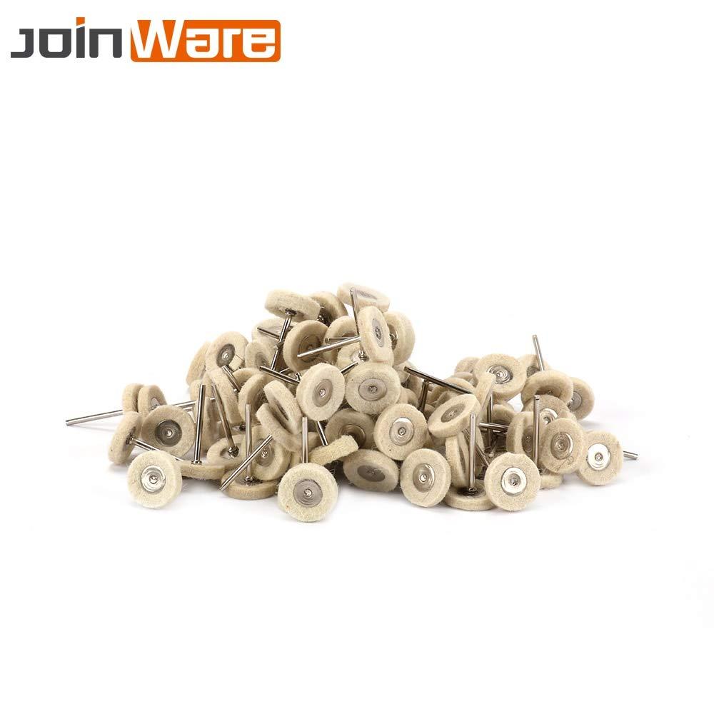 Maslin 100Pcs 3mm Shank Wool Grinding Head Felt Buffing Wool Wheel Polish Head Rotary Tool Length 45mm Accessories