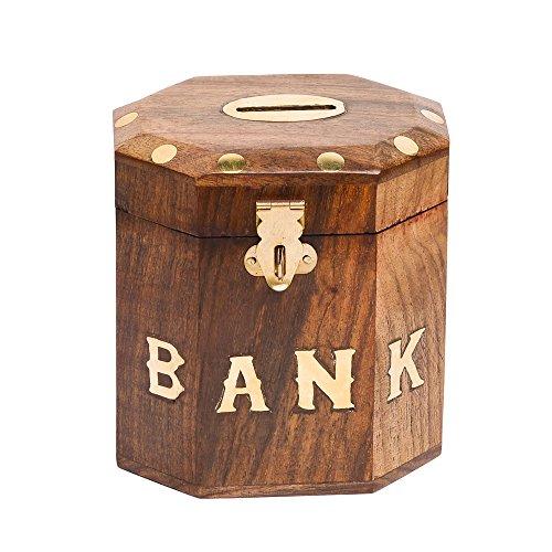 Rusticity Wooden Coin / Piggy Bank – Drum Barrel Hexagonal design | Handmade | (3.5×4 in)