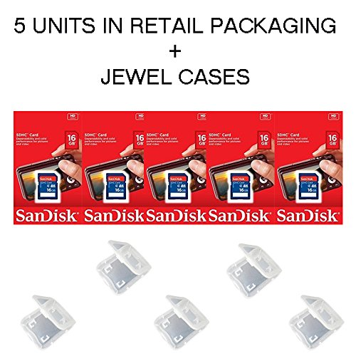Lot of 5 SanDisk 16GB SD SDHC Class 4 Flash Memory Camera Card SDSDB-016G-B35 Pack + ( 5 Jewel Cases ) ... ()