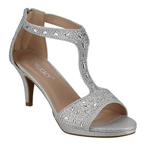 Womens FOREVER Sparkle T Zipper Wrapped Back Strap Heel Rhinestone Sandals FQ19 Silver FZZWfq5