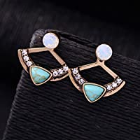 Jaywine2 Women Fan Shape Turquoise Rhinestone Front Back Ear Jacket Stud Earrings Healthy