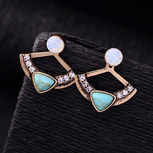 Jaywine2 Women Fan Shape Turquoise Rhinestone Front Back Ear Jacket Stud Earrings Healthy
