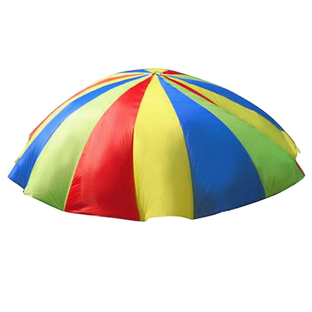 HTINAC Juego de Paracaídas con 8 Mangos para Infantil Paracaídas Arco Iris para Fiesta Deportes Ejercicio de Grupo Familiar (Niños de 5-12 Años)