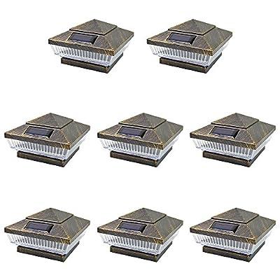8 Pack Copper/Silver Outdoor Garden 4 x 4 Solar 5-LED Post Deck Cap Square Fence Light Landscape Lamp Lawn PVC Wood