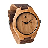 Treehut Men's Wooden Bamboo Watch with Genuine Leather Strap Quartz Analog with Quality Miyota Movement, 1.7 inches