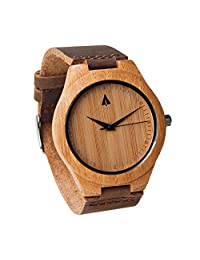 Treehut Mens Wooden Bamboo Watch with Genuine Brown Leather Strap Quartz Analog with Quality Miyota Movement, 1.5 inches