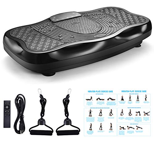 TODO Vibration Platform Power Plate Whole Body Vibrating Massager Machine Remote Control/Bluetooth Music/USB Connection/Resistance Bands(Black) by TODO