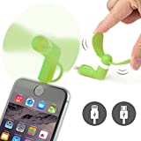 ONX3® (GREEN) NOKIA LUMIA 520 Mobile Cell Phone Portable Pocket Sized Fan Accessory 2 in 1 Connector For Android Micro USB and IOS iPhone