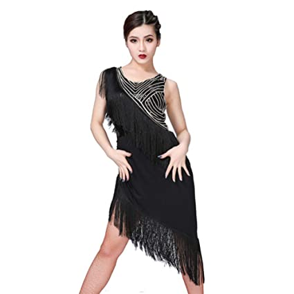 48471a630 Amazon.com : Loveble Sexy Women Latin Dance Dresses for Competition Pro  Competition Performance Exercise, Skirt with Fringes, Blue/Red/Black(M/L/XL)  ...