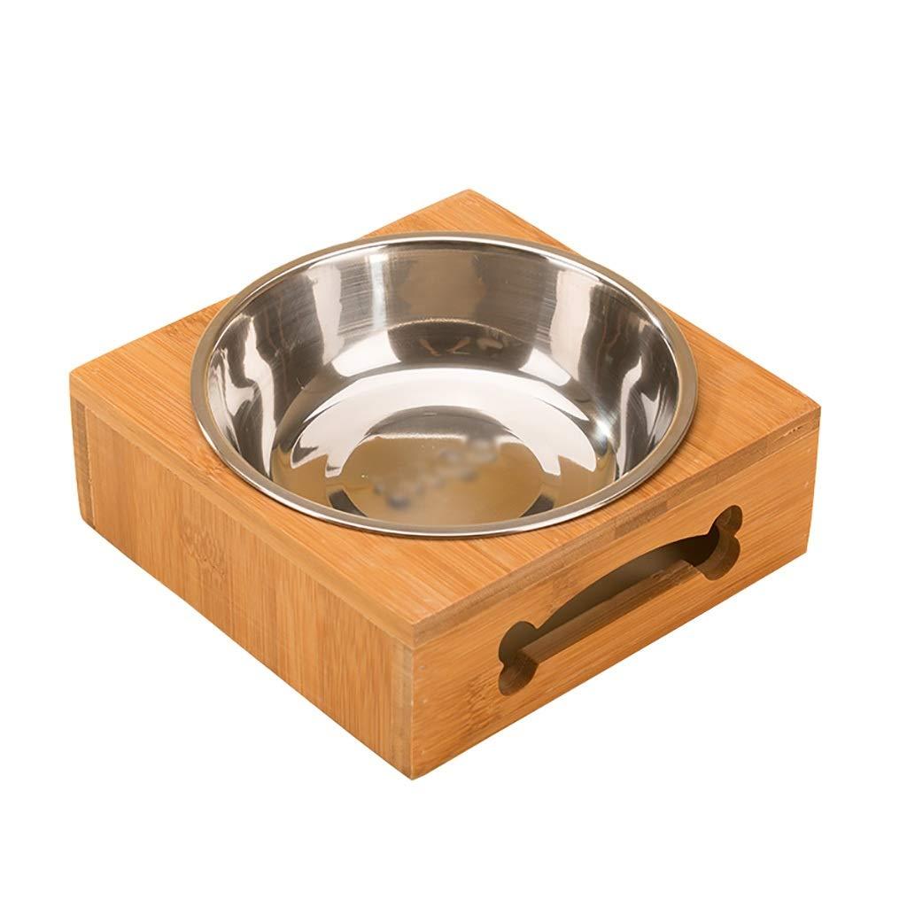 15.215.25.3cm Pet bowl Pet dish rack Pet food bowl Stainless steel bowl Solid wood dish rack Pet water bowl Cat food bowl Dog food bowl Double bowl (Size   15.2  15.2  5.3cm)