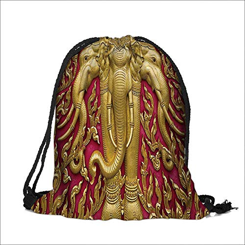 Thick Drawstring Pocket Gold Elephants Carved Door in Thai Temple Statue Bathroom Access with Drawstring Closure 14