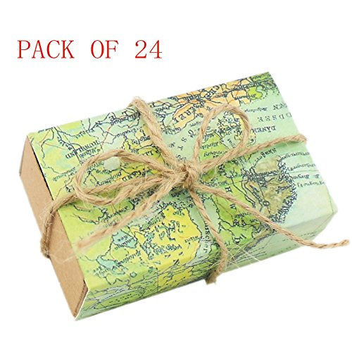 Ogrmar 24pcs Candy Gift Boxes Craft Paper Case for Wedding Favors World Map Drawers Design (24)