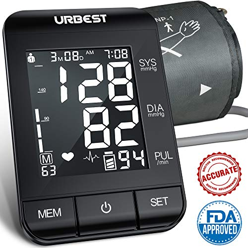 URBEST Blood Pressure Monitor – Accurate Digital BP Machine Extra Large Upper Arm Blood Pressure Cuff with Large Backlit Display,2-Users 180 Memory Automatic High Blood Pressure Detector for Home
