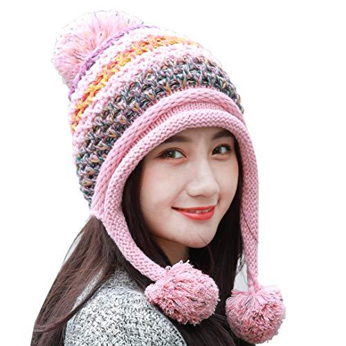 (HUAMULAN Women Fleece Skull Beanie Peruvian Hat,Winter Ski Earmuffs Chunky Ear Flaps Caps Pompoms)