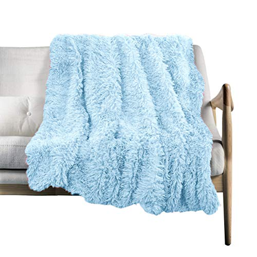 (VKSLEEP Faux Fur Throw Blanket, Super Soft Lightweight Shaggy Fuzzy Blanket Warm Cozy Plush Fluffy Decorative Blanket for Couch,Bed, Chair (Light Blue, 51
