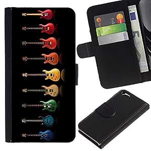 KLONGSHOP // Tirón de la caja Cartera de cuero con ranuras para tarjetas - Música colorido del arco iris Música Negro - Apple Iphone 6 //
