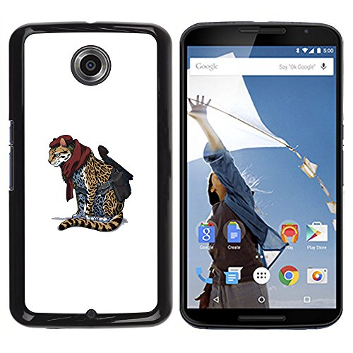 Hard PC Protective Case Smartphone Case Cover for NEXUS 6 / X / Moto X Pro // Cheetah Warrior - Cool Cat Cute Funny Animal // CooleCell