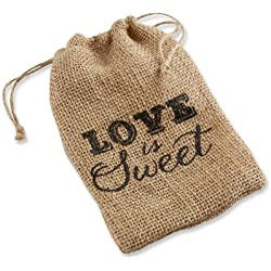 "Kate Aspen""Love is Sweet"" Burlap Drawstring Favor Bag, Set of 12"