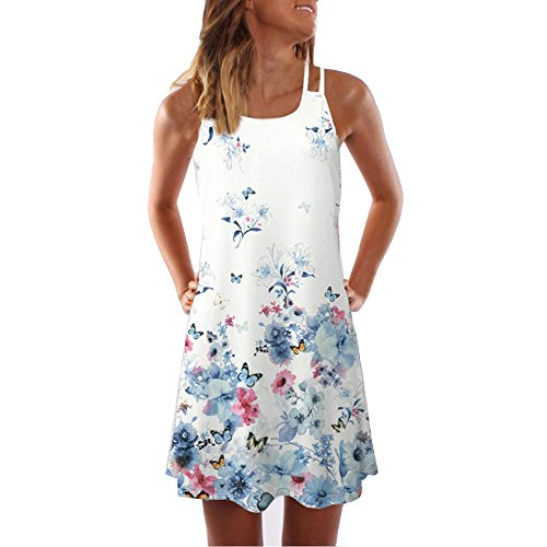 Sunhusing Ladies Sling Strapless Flower Print Tank Top Dress Sleeveless Mini A-Line Beach ()