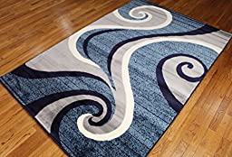 New Summit # 32 Swirl Blue Navy White Light Gray Area Rug Abstract Carpet Sizes Available 2x3 2x7 4x6 5x8 8x10 (5X8 ACTUAL IS 4\'10\'\' X 7\'.2\'\')