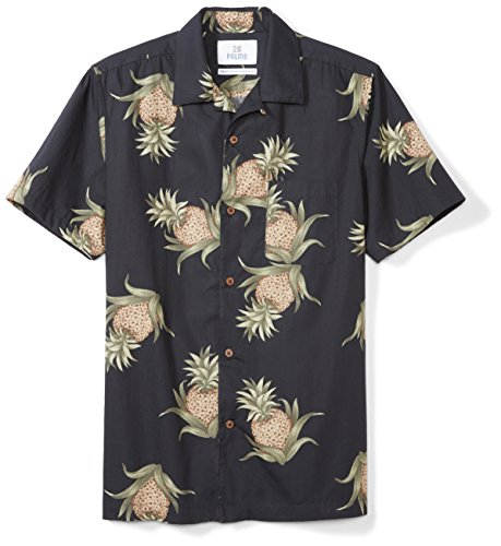 28 Palms Men's Standard-Fit 100% Cotton Tropical Hawaiian Shirt, Black Pineapple, (Cotton Mens Aloha Shirt)