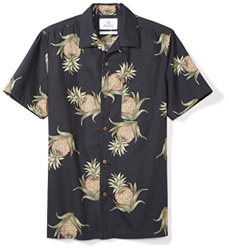 (28 Palms Men's Standard-Fit 100% Cotton Tropical Hawaiian Shirt, Black Pineapple, X-Large)