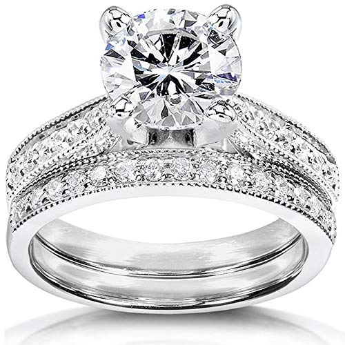 Kobelli Near-Colorless (F-G) Moissanite Bridal Set 2 1/3 CTW 14k White Gold, Size 8 (2 Carrot Diamond Engagement Ring)