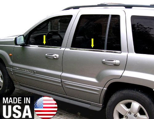 Made in USA! Works with 1999-2004 Jeep Grand Cherokee 4PC Stainless Steel Chrome Window Sill Trim Overlay