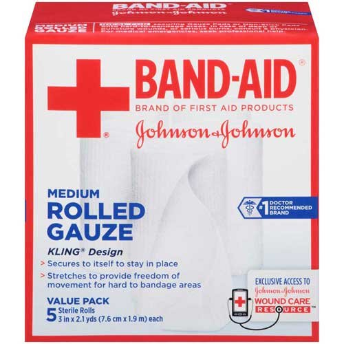 Johnson and Johnson Band-Aid Brand First Aid Products Medium Rolled Gauze 3 in. x 2.1 yd. Rolls 5 ct Box -- 12 per case. by Johnson & Johnson