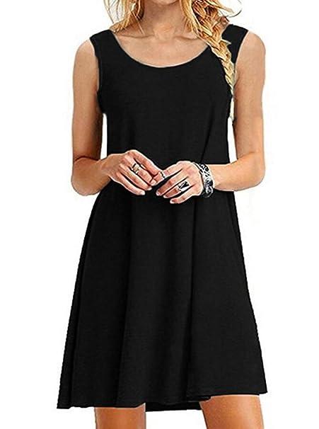 Womens Sleeveless Casual Loose T Shirt Summer Dresses Tank Sundress