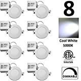 QPLUS 4 inch Dimmable LED Recessed Lighting Retrofit Potlight 10W (=75W) Cool White 5000K IC Rated Certified to CSA C22.2 No 9.0 Ultra Slim 750 Lumens Energy Star cETLus Thin Downlight Panel 5 Years Warranty (8 PACK)