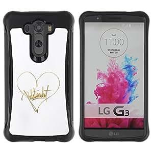 """Pulsar iFace Series Tpu silicona Carcasa Funda Case para LG G3 / D855 / D850 / D851 , Texto Corazón Oro Blanco Amor de autógrafos"""""""
