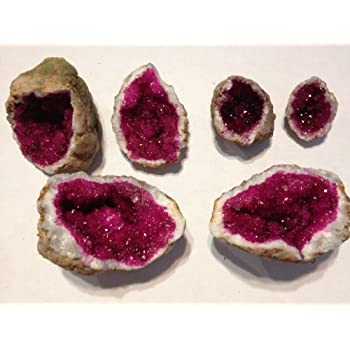Amazoncom GEMS ROCK Vivid Fuschia Pink Dyed Quartz Crystal Geode